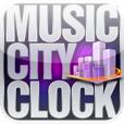 【音楽都市時計】曲のアートワークが仮想都市の大型ディスプレイに映し出される音楽プレイヤー。